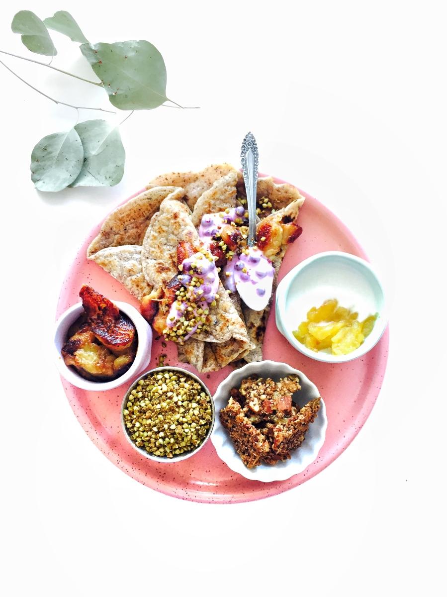 Hazelnut Crepes With Roasted pineapple yogurt, buckwheat sprinkles, and salted caramel bananas (VEGAN + GRAIN-FREE)